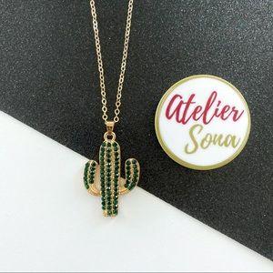 Crystal Encrusted Cactus Necklace